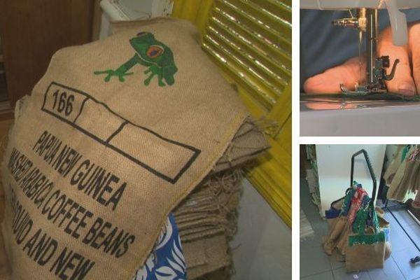 Des toiles de jute transformées en sac cabas
