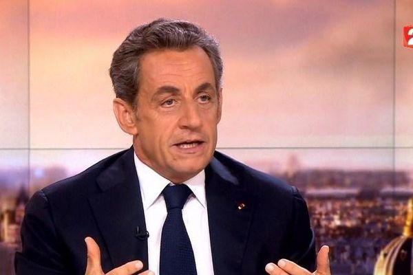 Nicolas Sarkozy sur le plateau du journal de 20 heures de France 2, le dimanche 21 septembre 2014.