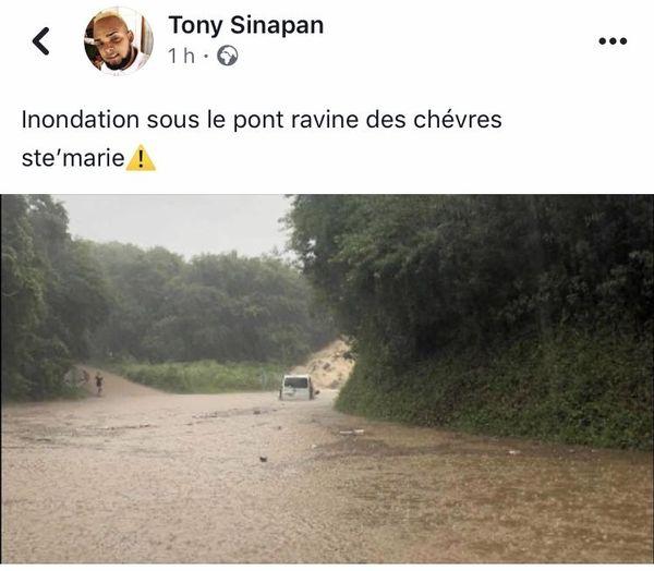 Inondation pont Ravine des Chèvres post FB