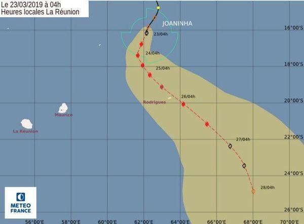 cyclone Joaninha trajectoire 230319