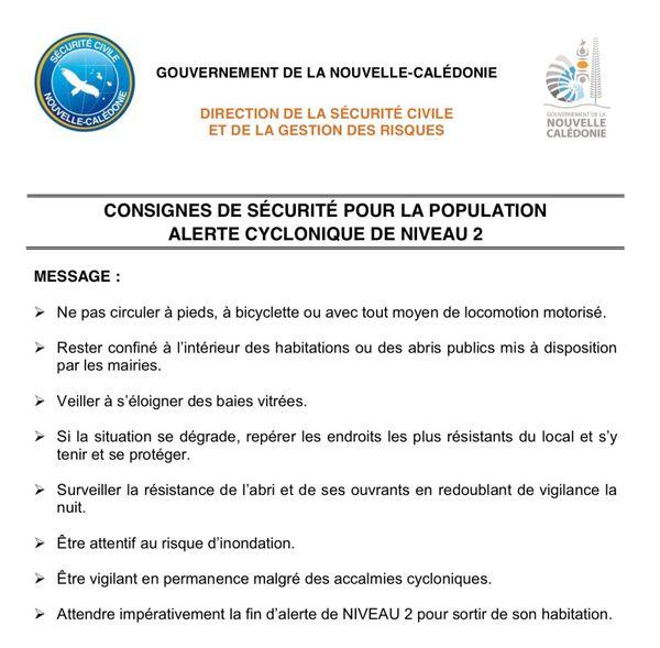 Consignes alerte 2 cyclones