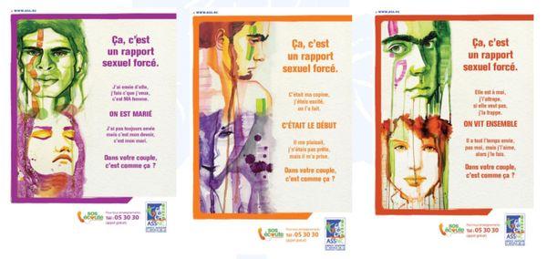 Affiches de l'ASS contre les rapports sexuels forcés