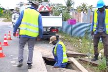 Intervention pour remplacer des câbles à Cogneau Lamirande