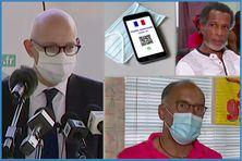 en haut à gauche : Stanislas Cazelles, préfet de la Martinique, en haut à droite : Serge Aribo (CGTM santé); en bas à droite : Jean-Pierre Jean-Louis (FO santé)