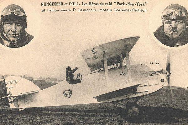 Carte postale des premiers essais de l'Oiseau Blanc