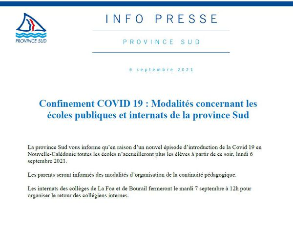 confinement COVID19 - Modalités concernant les écoles publiques et internats de la province Sud