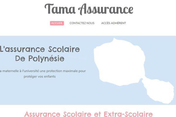 Capture du site internet de la société Tama assurance