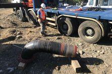 Travaux de raccordement tuyaux d'eau Rivière des Galets