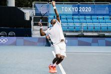 Gaël Monfils (16e mondial), lors de la rencontre en double messieurs du tournoi olympique de tennis à Tokyo, le samedi 24 juillet.