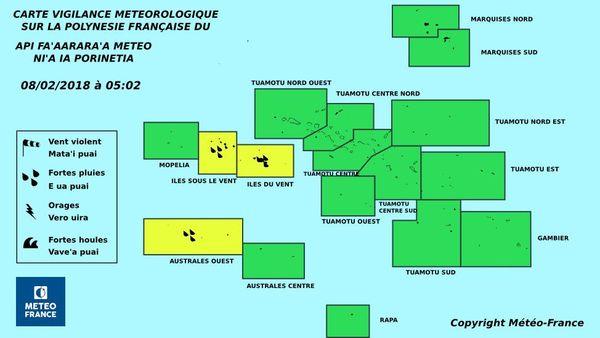 vigilance jaune sur la Sciété et les Australes ouest