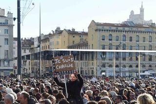 Manifestation du 11 janvier, sur le Vieux Port à laquelle ont participé 60 000 personnes