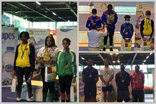 Les podiums de la finale épée dames M17, épée M15 garçons et seniors hommes (en bas)