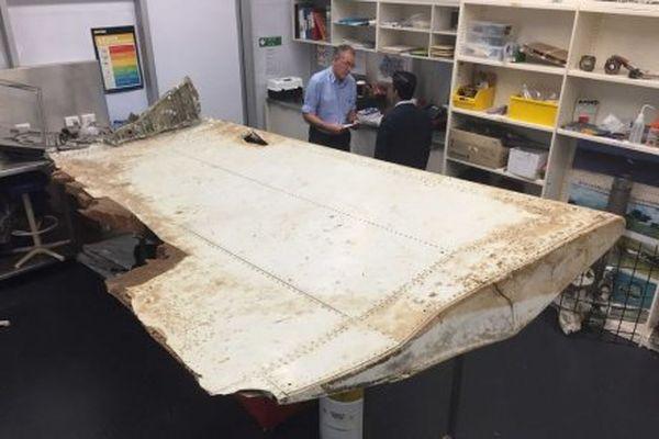 Volet d'aile du Boeing 777 de la Malaysia Airlines qui a disparu en mars 2014.