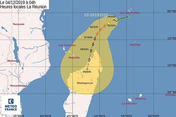 Carte météo tempête tropicale 4 décembre 2019 4 h
