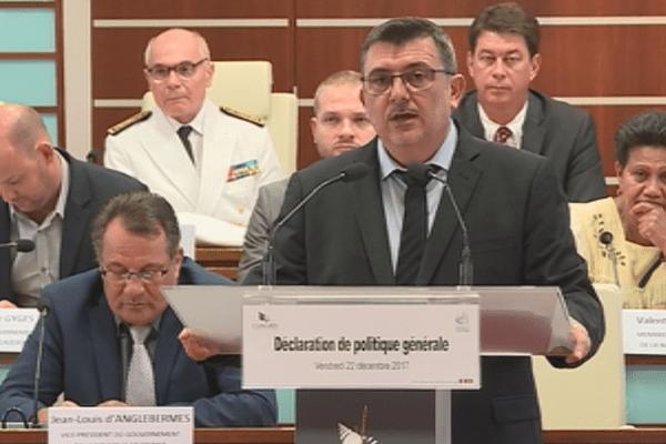 Philippe Germain lors de son deuxième discours de politique générale (22 décembre 2017)