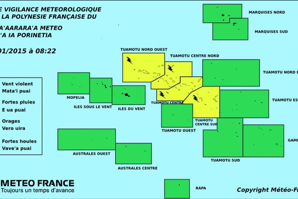 Vigilance jaune pour les orages aux Tuamotu