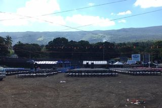 Le terrain de foot où se déroulera le meeting du candidat Azali