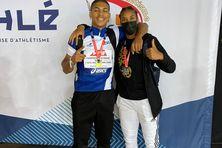 A gauche Aymerick Priam (racing club Martinique) champion de France Espoir 60 mètres plat et à droite Leelou Martial Ehoulé (club good Luck) vice-championne de France juniors du 60 mètres plat.