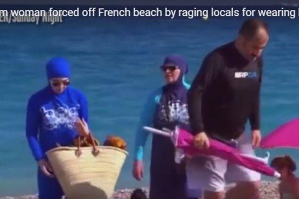 Capture d'écran du reportage de Channel 7, diffusé le 18 septembre sur le burkini en France