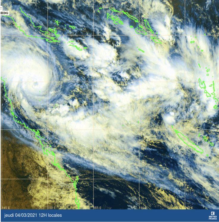 Ciclone Niran, quinta-feira, 4 de Março, meio-dia imagem de satélite