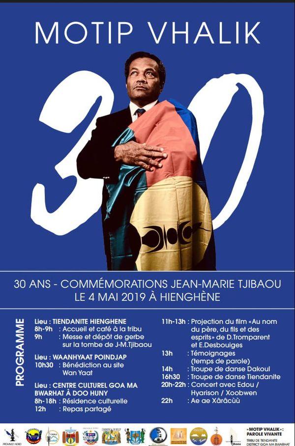 Affiche de la commémoration de la mort de Tjibaou, 2019
