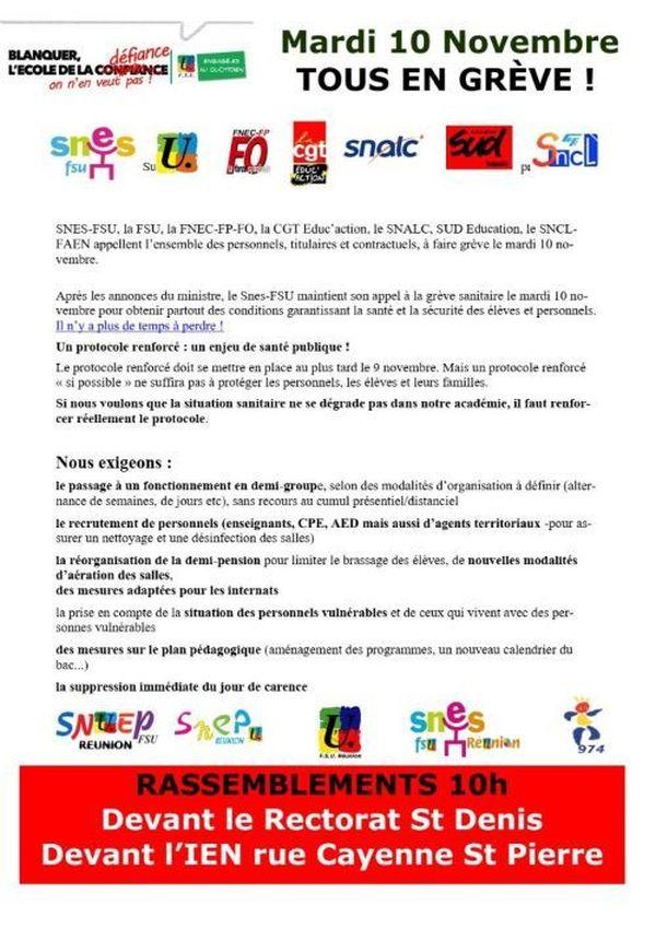 Coronavirus appel à la grève mardi 10 novembre protocole sanitaire dans les établissements scolaires 101120