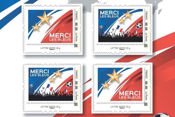"""Les timbres poste """"Merci les bleus"""""""