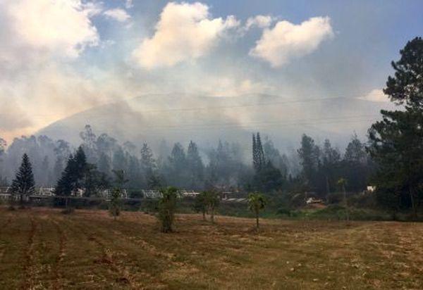 Incendie de Mouirange, vue de loin d'une exploitation.