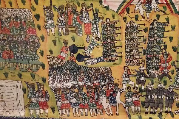"""""""La bataille d'Adoua"""", (tableau non signé représentant le combat des Ethiopiens contre la conquête coloniale italienne), Ethiopie, 1973"""