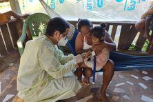 Des échantillons ont été prélevés dans la communauté Quilombo (noir-marron), en bordure du fleuve Cassiporé, à Oiapoque, pour des examens.