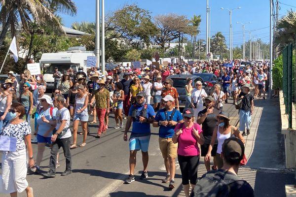 Manifestation contre le pass sanitaire à Saint-Pierre 14 aout 2021