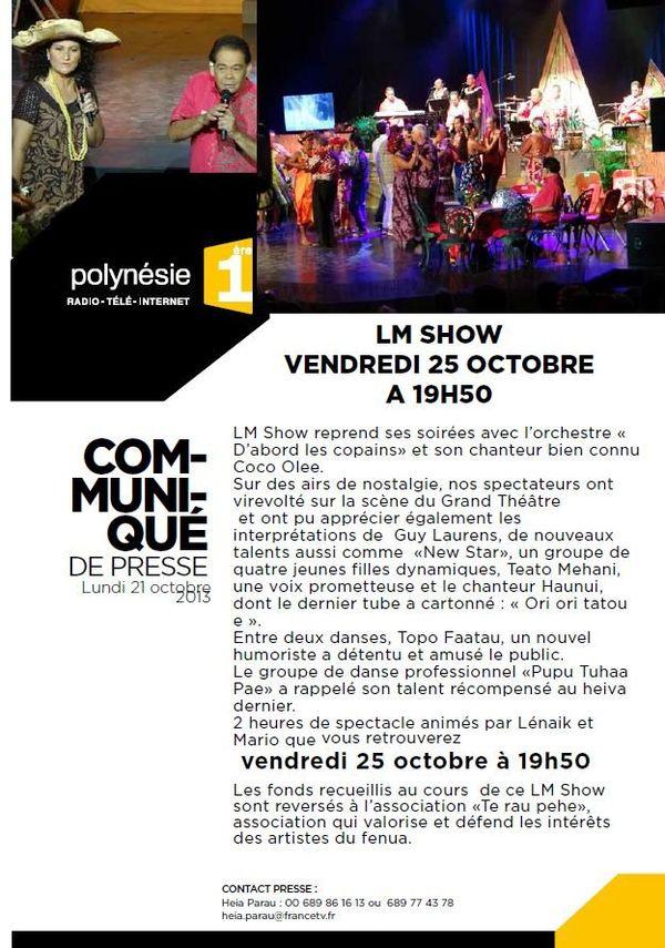 CP LM Show du 25 octobre 2013