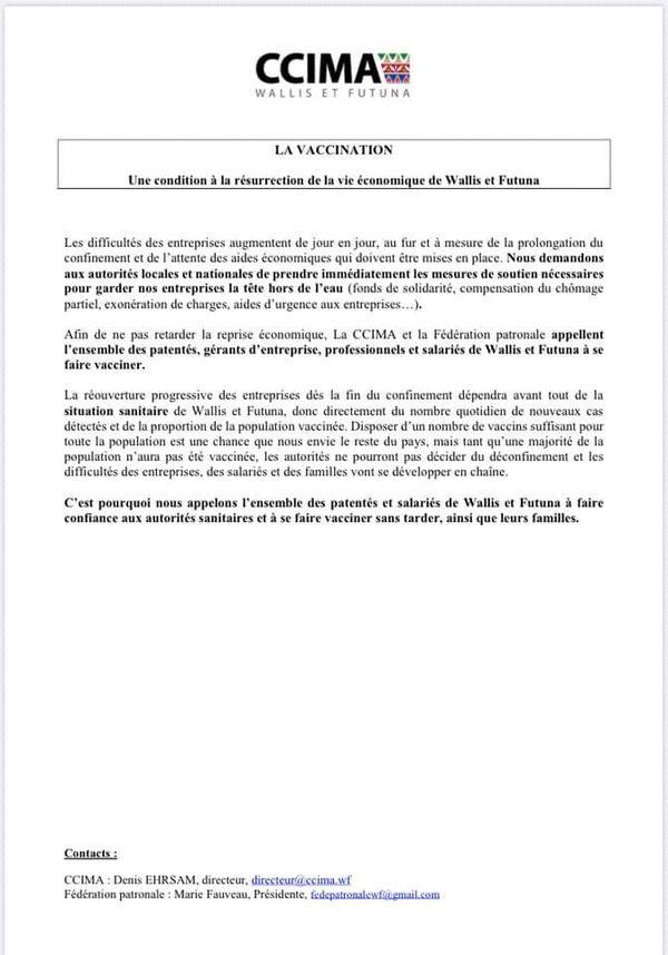 Communiqué de la CCIMA de Wallis et Futuna