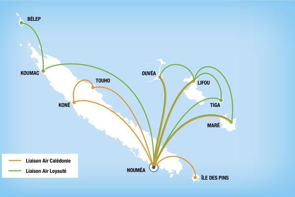 Carte des liaisons aériennes domestiques en 2020.