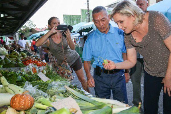 Marine Le Pen en visite en Guyane.