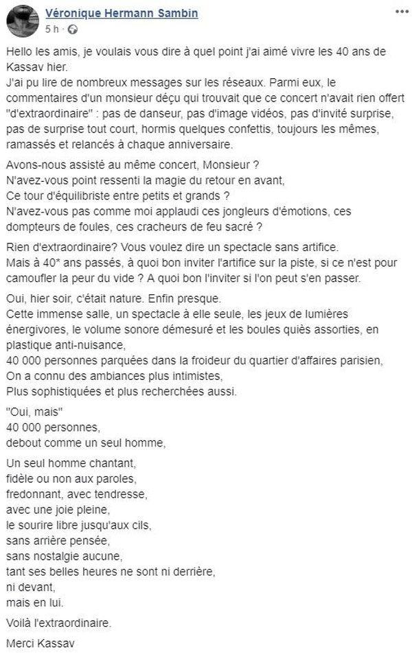 Message facebook Veronique Hermann Sambin
