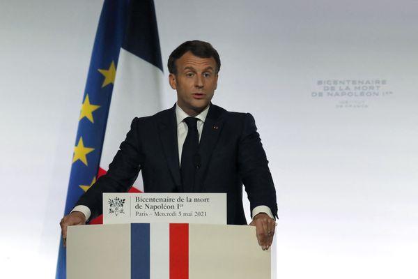 Emmanuel Macron le 5 mai 2021, lors des commémorations du bicentenaire de la mort de Napoléon