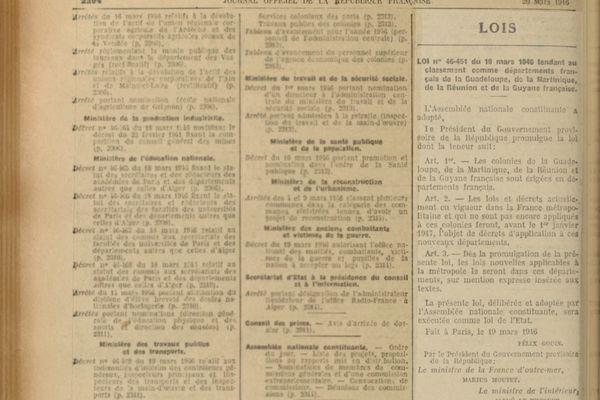 Journal officiel départementalisation 1946