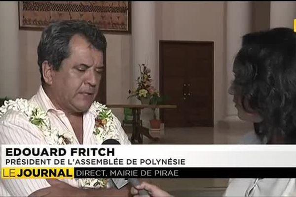 Edouard Fritch, président de l'Assemblée de Polynesie, était en direct dans le journal