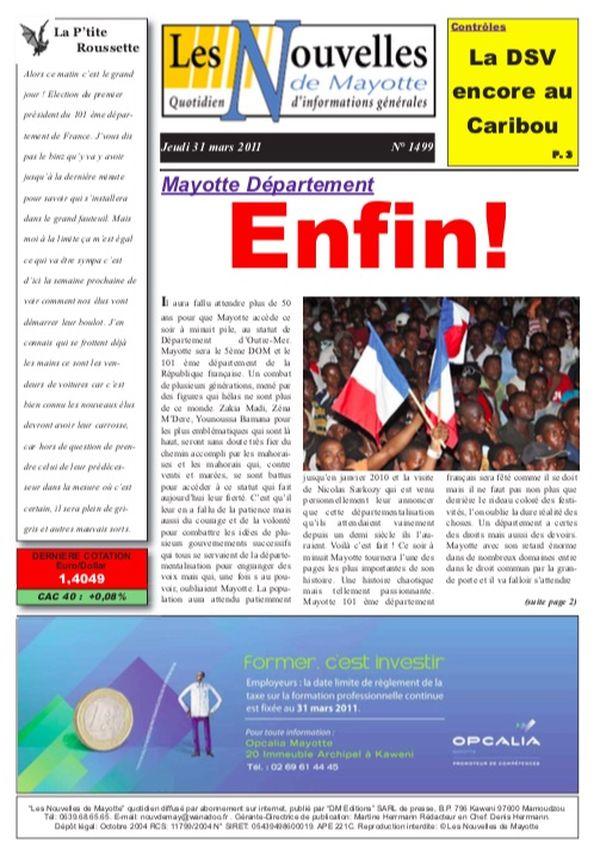 revue de presse dix ans départementalisation Les Nouvelles de Mayotte