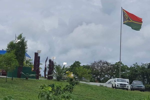 Bureau du premier ministre Port-Vila. Vanuatu. Drapeau