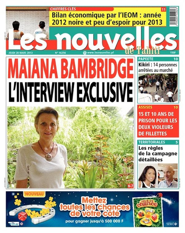 Les Nouvelles de Tahiti, 28 mars 2013