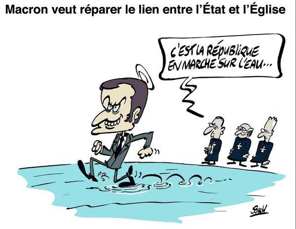 Le dessin de Souch : Macron/Eglise