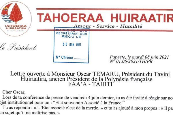 Lettre ouverte de Gaston Flosse à Oscar Temaru