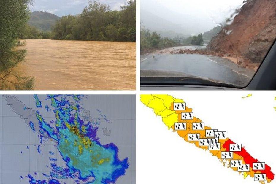 Fortes pluies : Thio et Yaté en rouge, plusieurs autres communes voient orange - Nouvelle-Calédonie la 1ère