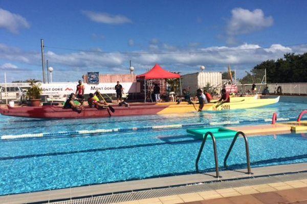 Tir à la rame en va'a piscine de Boulari Mont-Dore fête du sport 14 juillet 2017