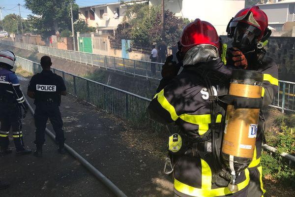 Incendie quartier de La Source à Saint-Denis 20190806-04 - Pompiers