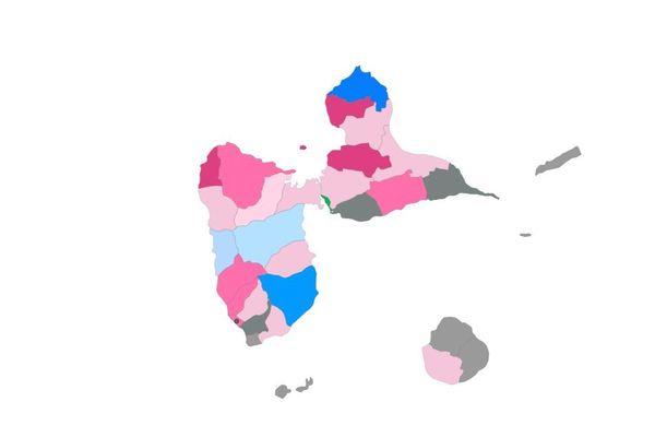 Carte de la Guadeloupe après les municipales