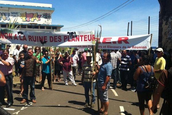 Manifestation planteurs à Saint-Denis