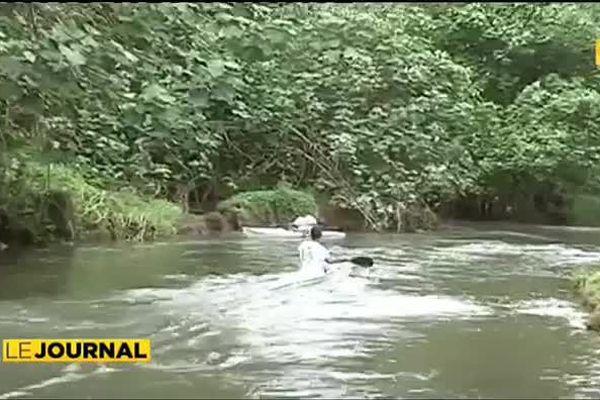 Kayak dans la seule rivière praticable de Polynésie : Faaroa à Raiatea